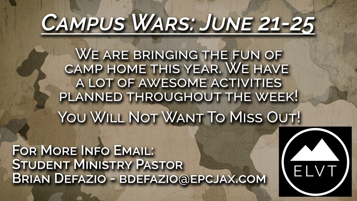 ELEVATE - CAMPUS WARS (YOUTH CAMP)